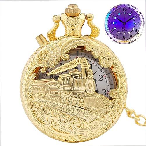 FANLLOOD Reloj de Bolsillo Reloj de Bolsillo de Cuarzo LED Luminoso Dorado de Lujo, Motor de Locomotora de Tren, Reloj de luz Fob de Cuarzo Steampunk, Regalos para Hombres y Mujeres, Doradocon