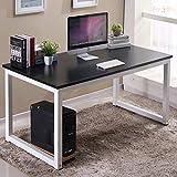 "Homesailing Black I Shape Computer PC Gaming Desk Table 41"" Modern Wood Office Home Workstation Writing Study Desk(Black)"