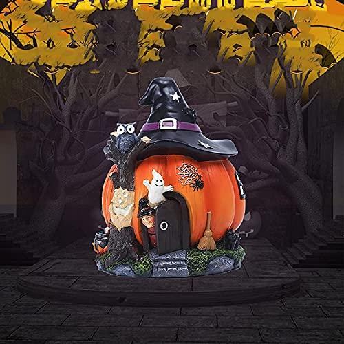 TANKKWEQ Halloween Witch Pumpkin House - Luminosa Resina Artesanía Decoración Jardín al Aire Libre Patio Adorno Decorativo Estatuas Noche Oscuro Ghost Haunted Craft House