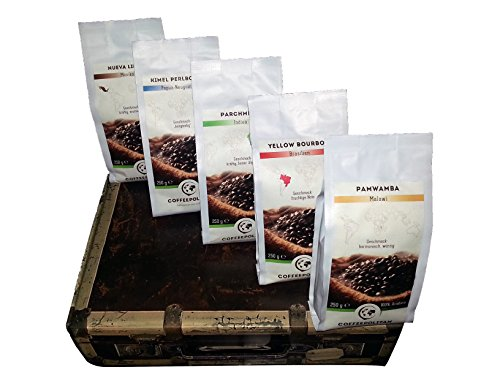 Kaffee Geschenk-Set Kaffeebohnen aus 5 Kontinenten ganze Bohne 5x250g