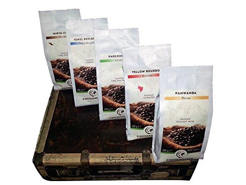 Coffeepolitan Kaffee Geschenk-Set - Kaffeebohnen aus 5 Kontinenten - ganze Bohne 5x250g, eine exklusive Geschenkidee, ideal als Weihnachtsgeschenk oder zum Advent