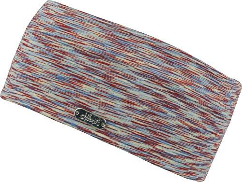 FEINZWIRN Damen Kopfband Haarband in vielen Farben für Sport und Freizeit doppellagig (red-Blue-Yellow)