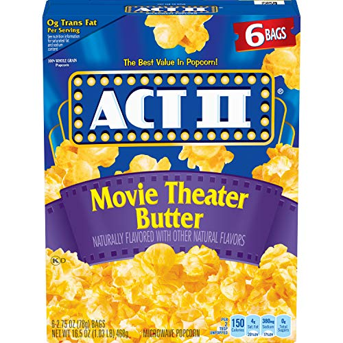 ACT II Movie Theater Butter Microwave Popcorn Bags, 16.5 Ounce,(Pack of 6)