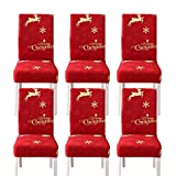 WSNBB Dining Chair Slipcovers Christmas Decoration,6 Pack Super Fit Stretch Removable Washable Short Dining Chair Protector Cover Seat Slipcover for Hotel,Dining Room,Ceremony,Banquet Wedding Party