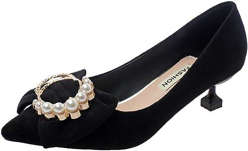 XSY Escarpins élégants pour Femmes avec Bout Bout Pointu, Chaussures De Mariage, Flock Fashion Pearls, Boucle, Talons Fins, Chaussures pour Femmes  première réponse