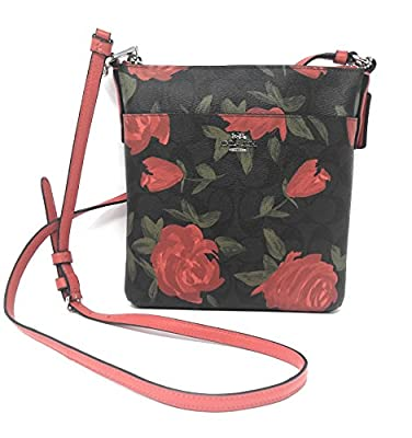 COACH Camo Rose Floral Printed Messenger Crossbody Sv/Brown/Red One Size