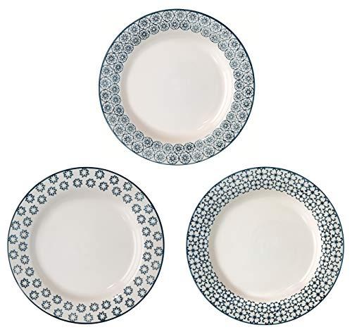 Bloomingville Suppenteller Kristina, saphirblau, Keramik, 3er Set