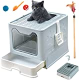 Large Foldable Cat Litter Box Pan with Lid JKBBKLCZ Top Entry/Front Entry Large Enclosed Litter Box Drawer Type Cat Litter Pan Anti-Splashing Cat Supplies