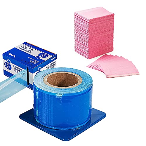 Barrier Film Blue, Barrier Film Roll with Dispenser Box, 4'x 6' 1200 Sheet Adhesive Barrier Film,Pink Dental Bibs 125 Pcs,3 Ply Disposable Patient Bibs,13' x 18' Waterproof for Tattoo Bibs,Tray Covers