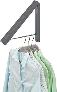 mDesign Barre de penderie pour la buanderie – Tringle à vêtements Pliable en métal pour Le Nettoyage Chimique – Portant po...