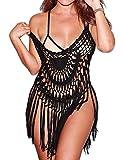 Ekouaer Women's Swimsuit Beach Cover Up Lace & Tassel Bikini Beachwear Sheer Bathing Suit Coverup (Black XL)