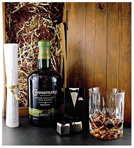 Geschenk Connemara Original irischer Single Malt Whiskey + Glas + 2 Whisky Kühlsteine