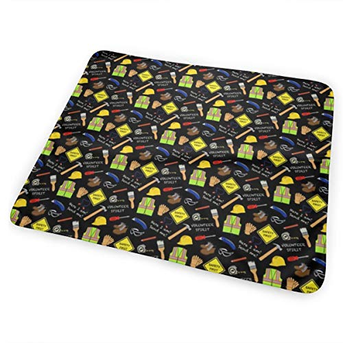 Safety First Construction Volunteer Black Bed Pad Washable Waterproof Urine Pads for Baby Toddler Children and Adults 31.5 X 25.5 inch