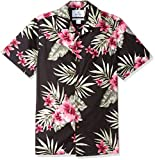Amazon Brand - 28 Palms Men's Standard-Fit Tropical Hawaiian Shirt, Black/Pink Hibiscus Floral, XX-Large