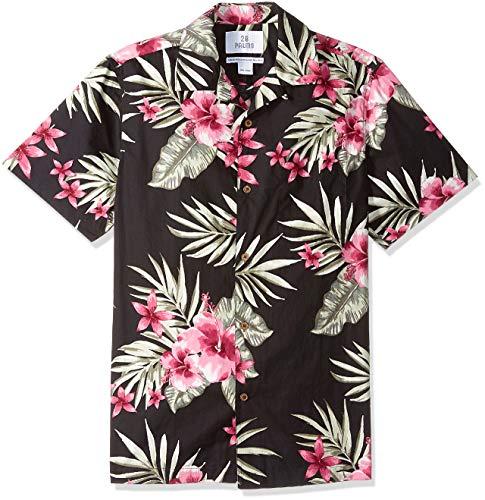 Amazon-Marke: 28 Palms Standard-Fit 100% Cotton Tropical Hawaiian Shirt Hemd, Black/Pink Hibiscus Floral, L