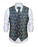Enlision Chaleco y Corbata Floral Jacquard Paisley para Hombre y Traje de Chaleco Cuadrado