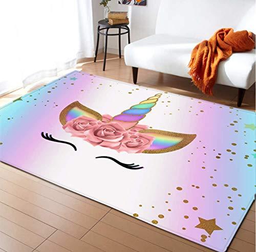 Tapis Anti-Dérapants Pour Enfants Tapis De Jeu Enfants Jeu Jouer Couverture En Polyester Licorne Fille Décoration De Chambre 80cmx150cm