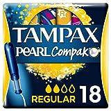 Tampax Compak Pearl Regular con Aplicador, Tampón Óptimo en Comodidad, Protección y Discreción, 18 Unidades