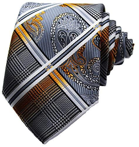 WilRoB Handgemachte Designer Krawatte 100% Seide 8 cm - mit gratis Einstecktuch