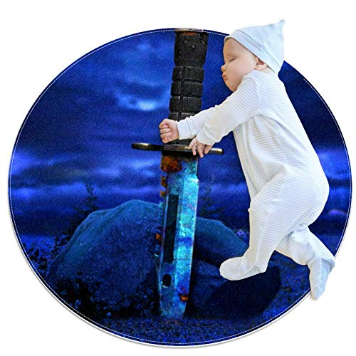 Weapon Knife Blue Baby Play Mats - Baby Crawling Mats for Boys and Girls - Children's Room Decor for Play Carpet Floor Carpets