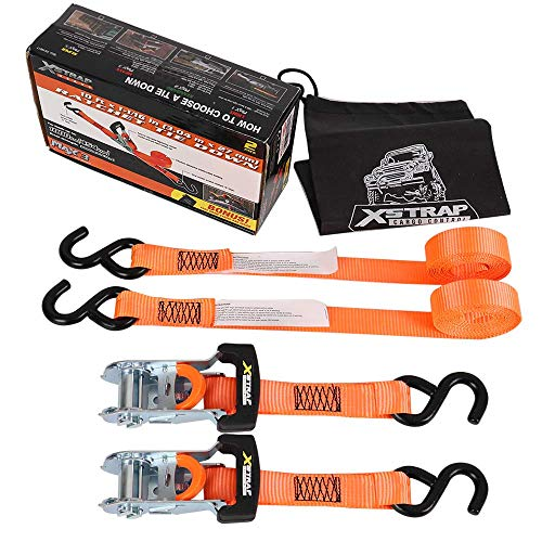 XSTRAP Ratchet Tie Down Straps 2PK 3000LBS (1-1/16'' x 10ft) (Orange Ratchet)