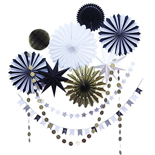 10 Pieces Black and Gold Tissue Paper Fans and Garland Christmas Decorations