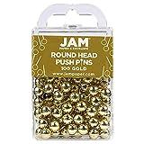 JAM PAPER Colorful Push Pins - Round Head Map Thumb Tacks - Gold Pushpins - 100/Pack