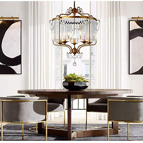 XLTT Lámpara de araña de cristal retro de bronce con 5 cabezas, para restaurante, sala de estar, comedor, dormitorio, estudio, lámpara LED, luz cálida, 63 x 63 x 69 cm
