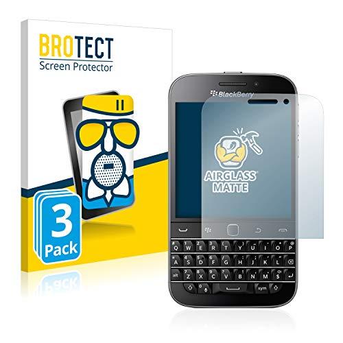 BROTECT Entspiegelungs-Panzerglasfolie kompatibel mit BlackBerry Classic Q20 (3 Stück) - Anti-Reflex Panzerglas Schutz-Folie Matt