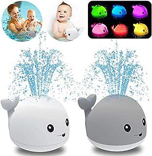Baby Bath Toys, Whale Automatic Water Spray Bath Toys (with LED Lights), Induction Sprinkler Bathtub Baby Bath Toys (Boys,...