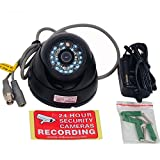 VideoSecu CCTV Security Dome Camera Day Night Vision Outdoor CCD Vandal-Proof 3.6mm Wide View Angle Lens 480TVL with Bonus Power Supply 1Z0