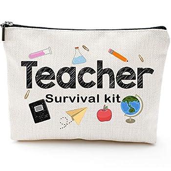 Teacher Survival Kit Teacher Appreciation Gift for Women Teacher Pencil Pouch Teacher Gifts For Women Preschool,Elementary,Waterproof Cosmetic Bag High School makeup bags