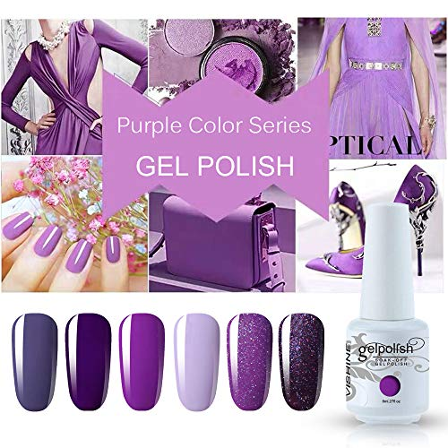 Vishine 6PCS Purple Glitter Nail Polish Gel UV LED Soak Off Nail Art Kit Gorgeous Manicure Collection Gift Set 8ml
