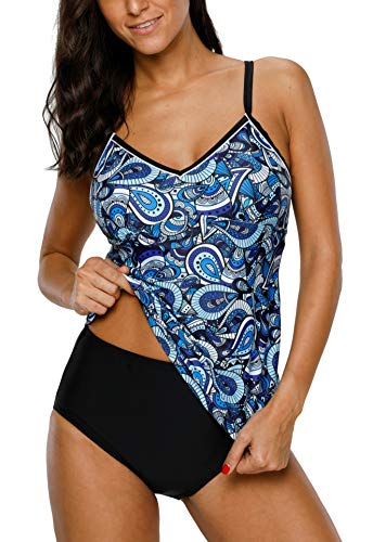 V FOR CITY Tankini Damen Tankini günstig Bauchweg Badeanzug Push Up Oberteile, Blau, XL