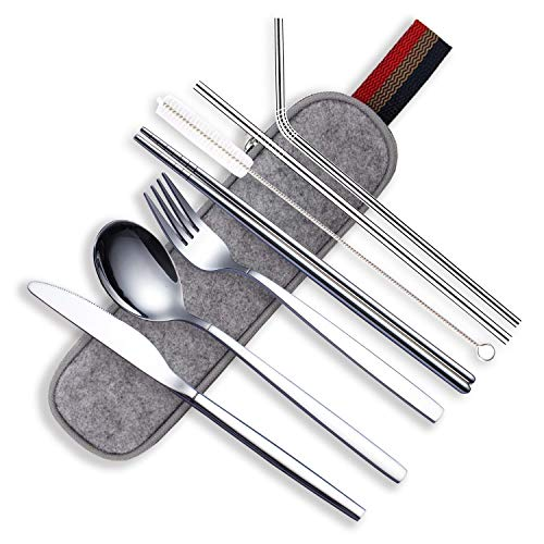 HOMQUEN Utensili Portatili, Set di Posate in Acciaio Inossidabile, Include Coltello/Forchetta/Cucchiaio/Bacchette/Cannucce/Pennello/Custodia Portatile (Argento-8 Pezzi)
