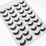 HBZGTLAD NEW 16pairs Faux 3D Mink Lashes Natural Long False Eyelashes Volume Fake Lashes Makeup Extension Eyelashes (Glamour)