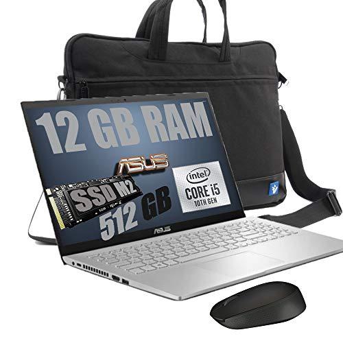 "Notebook Asus I5 Display Led Full HD da 15.6"" Slim Cpu Intel quad core i5-1035G1 10th gen Up to 3,6Ghz /Ram 12GB DDR4 /SSD M2 512GB /VGA FHD 520 /Hdmi /Wifi /Bluetooth /Windows 10 pro /Mouse + Borsa"