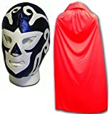 Huracan Azul Adulto Luchador Mexicano Máscara de Lucha con / Rojo Capa