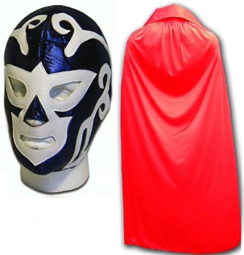 Huracan Blau Erwachsene Luchador Mexikanische Wrestling Maske mit Umhang Rot