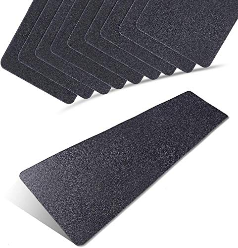 6 x 24 Inch Black 80 Grit Slip Resistant Safety Treads - Premium 10 Pre-Cut Outdoor Safety Tape - Rounded Corners