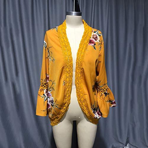 YYH Dames-cardigan blouse tops bloemendruk -Kimono cardigans kant zoom los vervagen Large geel