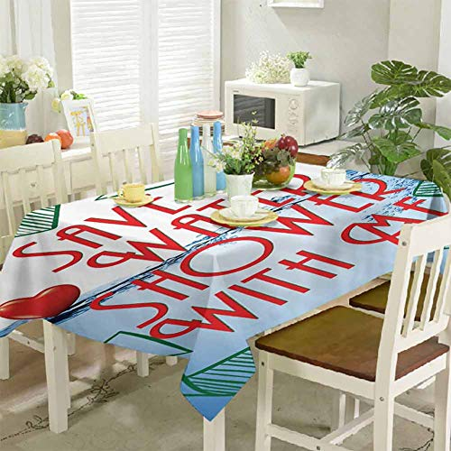KaMiao Dinning Tabletop Decoration Invitation Save Water Shower with Me Sexy Decor Recycling Earth Lover Funny Heart Kinky Home Funny Couples Quote Adult 60'x102' Waterproof Rectangle Tablecloth