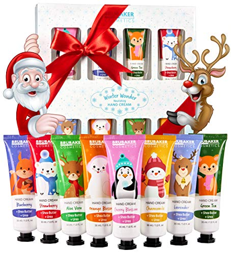 BRUBAKER Cosmetics Handcreme Winterwunder Geschenkset 8-teiliges Pflegeset feuchtigkeitsspendend für trockene Hände - Feuchtigkeitscreme mit Urea und Sheabutter - Weihnachten Pflegecreme