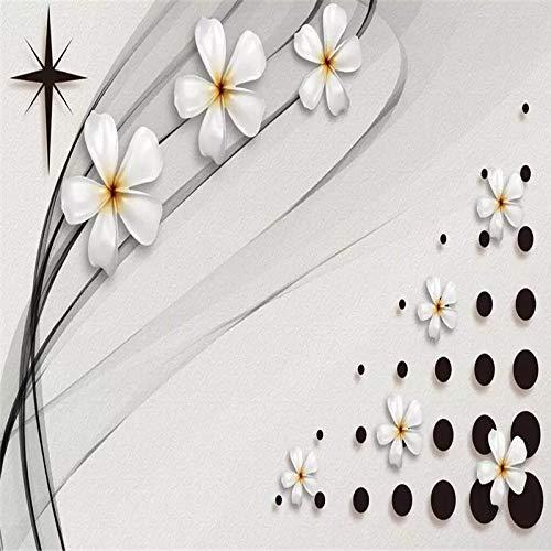4D behang muurschilderingen, eenvoudige driedimensionale witte bloemenpatroon zwarte punt Hd kunstdruk grootte fotobehang poster voor huis woonkamer slaapkamer bibliotheek muur decoratie, 76 × 108 in 190 116in×192in 290cm(H)×480cm(W)