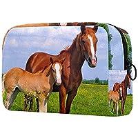 化粧ポーチオーガナイザーポータブルトラベルコスメティックケース牧草地の中の馬 ストレージラージポケットジッパー