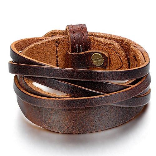 JewelryWe Schmuck Herren Armband, Armreif 18-20cm Verstellbaren Größen, Leder Legierung, Braun