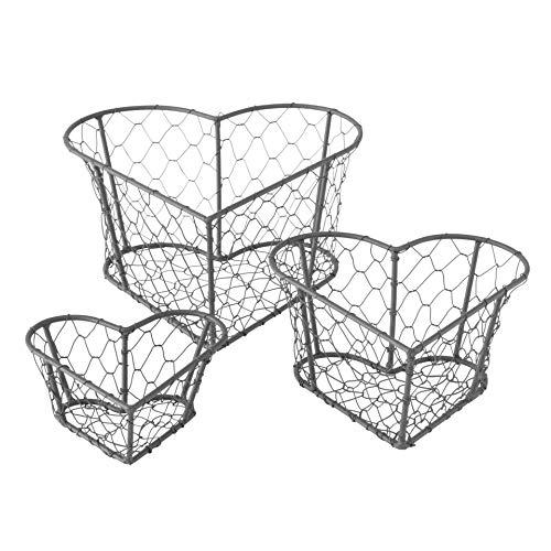 CasaJame Cesta decorativa de metal con forma de corazón, juego de 3 unidades, color gris, longitud 12 – 20 cm, ancho 12 – 20 cm, altura 5 – 10 cm