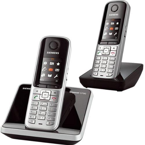 Gigaset S790 Duo - 2 teléfonos fijos inalámbricos DECT, color plateado