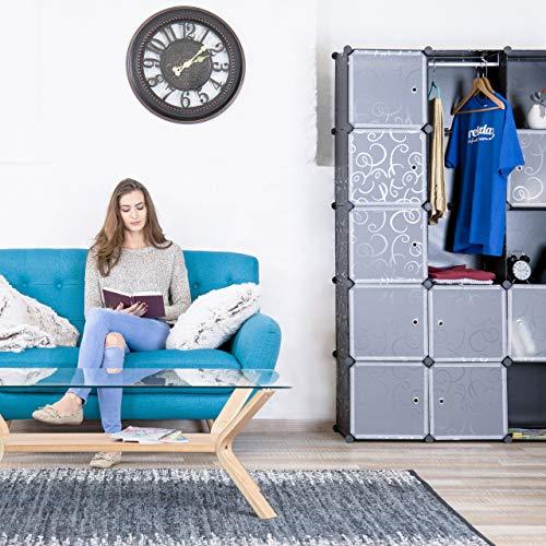 Relaxdays kledingkast steeksysteem, 12 vakken, kunststof, grote garderobekast met patroon, 145,5 x 145,5 cm, zwart