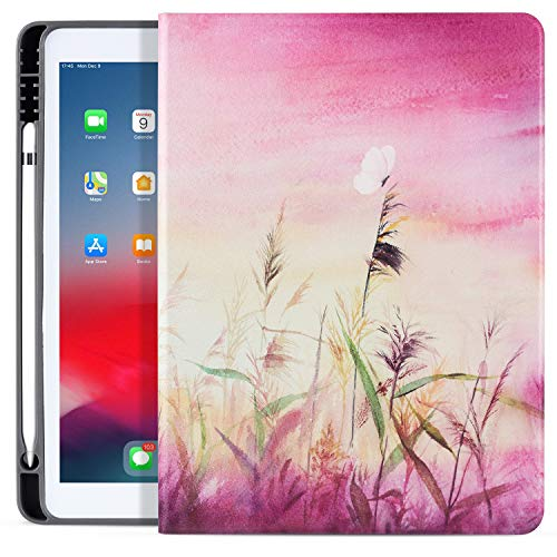 ipad 10.2 2019 Case with Pencil Holder, ipad Air/Pro 10.5 Case 2019/2017, Vimorco Premium Leather Smart Protective Folio Shell Cover for Apple ipad 7th Gen, Pink Reed